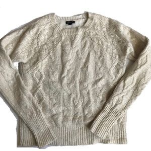 Ann Taylor Gold and Cream Cable Knit Sweater Small